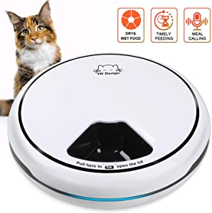 TDYNASTY DESIGN 5 Meal Automatic Cat Feeder, Cat Dog Trays Dry Wet Food Dispenser, Auto Pet Feeder Cats with Programmable Timer, Auto Cat Feeders - Cat Mate Feeder 5x145g