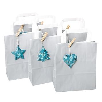 6 pequeños Gris Decoración navideña Bolsa de Regalo 18 X 22 ...