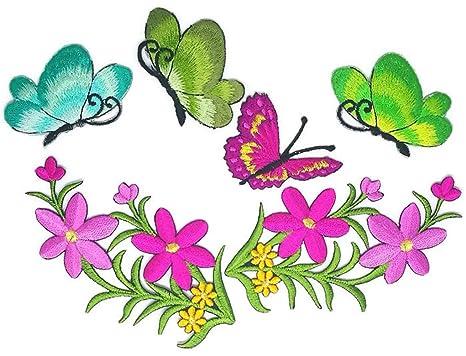 Juego de flores D.I.Y. Parche bordado para coser o planchar con dibujos animados, hecho a