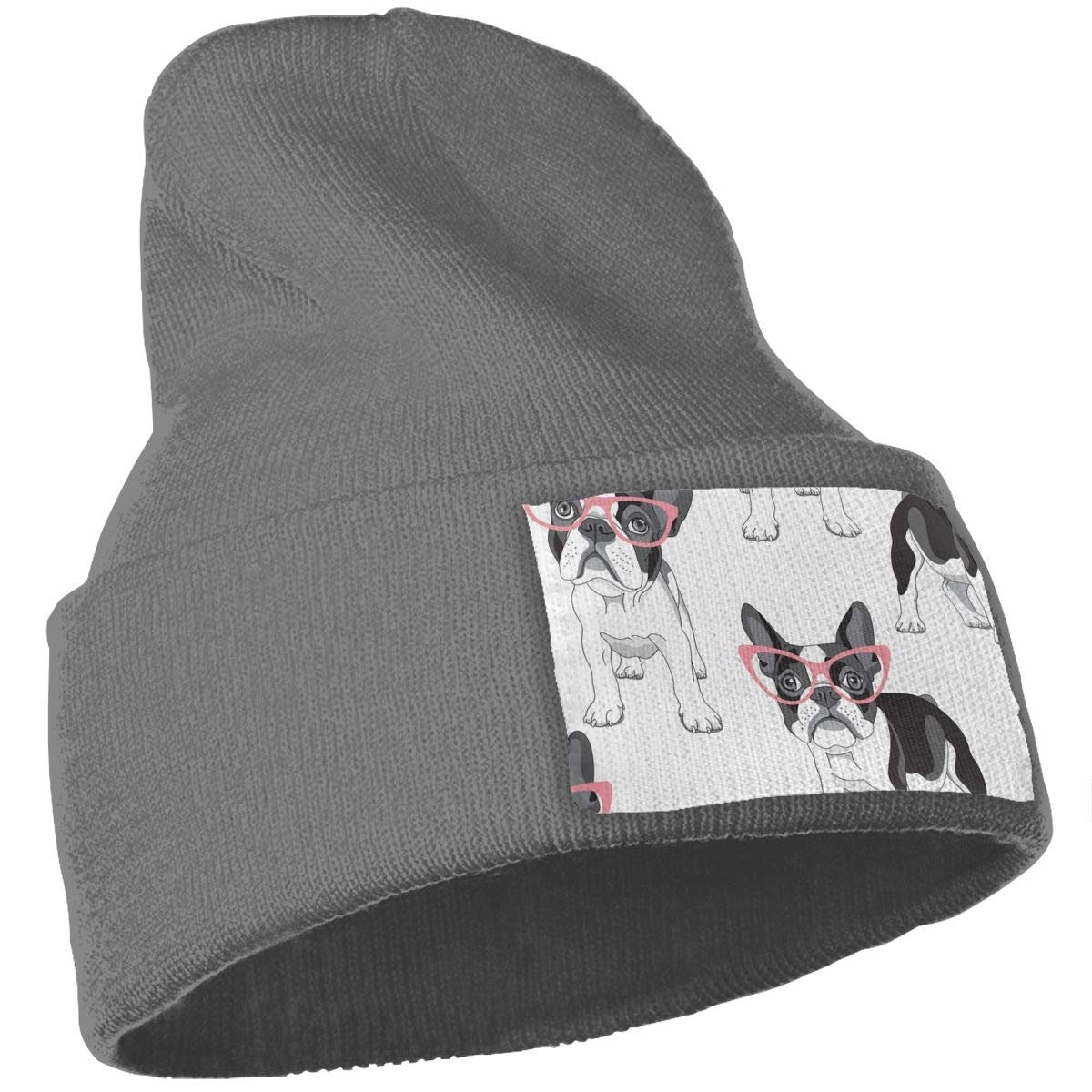 French Bulldog in A Pink Glasses Skull Caps Women and Men Winter Warm Stretchy Knitting Beanie Hats