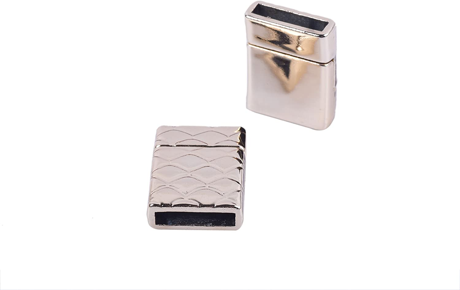 KONMAY 3 Sets Golden Rectangle 30.0x3.0mm Glue-in Ends Flat Magnetic Jewelry Clasp