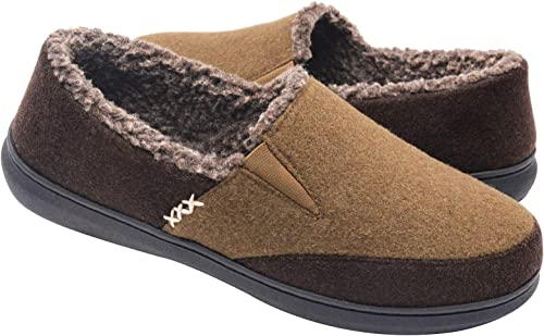 Zigzagger Men's Fuzzy Microsuede Moccasin Home Slippers Fluffy House Shoes IndoorOutdoor Footwear