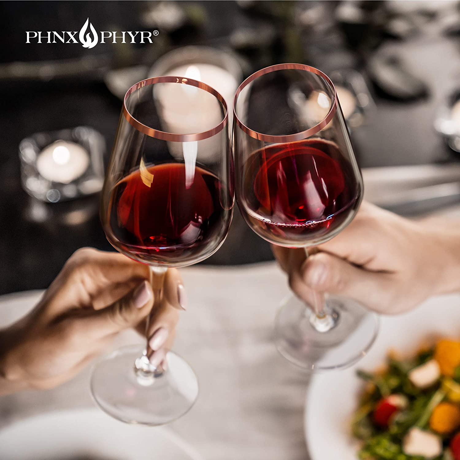 Stem wine glasses Hand Blown Crystal Rose Gold Wine Glasses set 2 Red wine glasses set of 2 Stem wine glass set Large white wine glass Stemmed wine glasses Gift packaging by Phnx Phyr