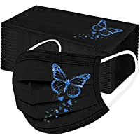 Fenebort 50PC Adult'S Butterfly Printed Mask Disposable Protective Face Masks Breathable Dustproof Comfortable Elastic…