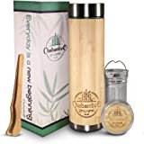 Bamboo Tumbler with Tea Infuser and Strainer by CHABAMBOO | 17oz Coffee and Tea Bottle | Vacuum Insulated Travel Tea Mug…