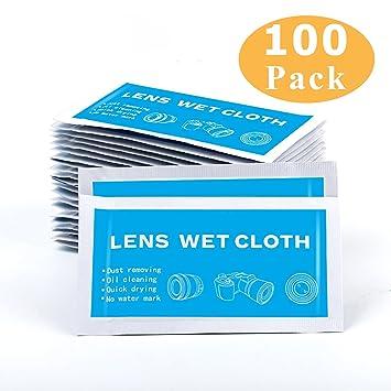 yiyayiyayo prehumedecidas lente toallitas de limpieza para lente gafas cámara teléfono celular protector de, 5 x 7 pulgadas, 100 piezas: Amazon.es: Hogar