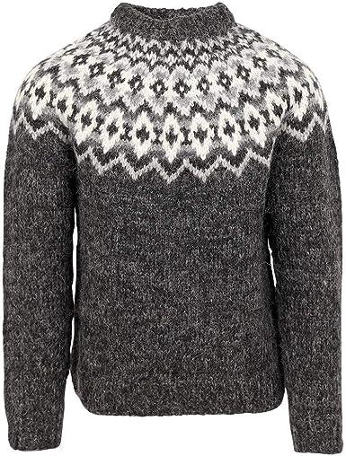 ICEWEAR Snorri Mens Hand Knitted Wool Sweater | 100% Icelandic Wool Long Sleeve Crew Neck Winters Jumper Without Zipper