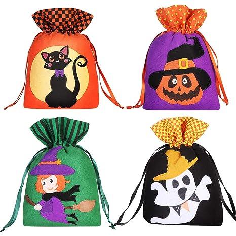 Hemoton 8 bolsas de caramelos de Halloween con cordón para ...