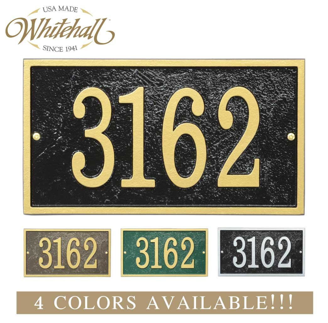 Metal Address Plaque Personalized Cast with Rectangle Shape. Four Colors Available! Custom House Number Sign. Whitehall