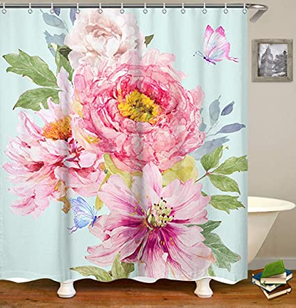 Amazon Livilan Pale Turquoise Peony Floral Fabric Shower
