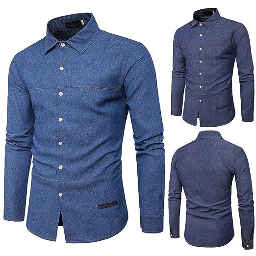 Hombres Camisetas, Retro Denim Camisa Blusa de Vaquero Moda Slim Thin Tops Largos Mezcla de Algodón: Amazon.es: Ropa y accesorios