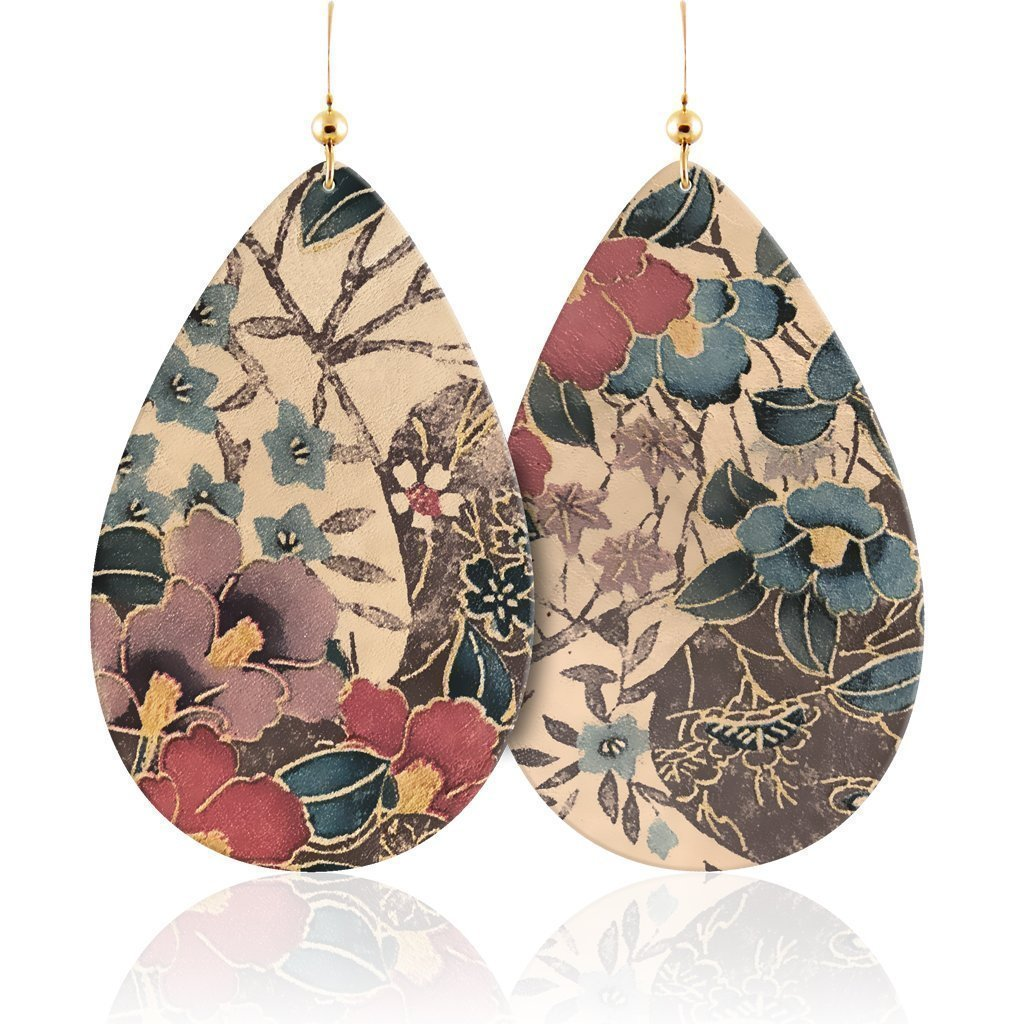 Leather Earrings floral faux leather fringe pink blush teardrops flowers spring summer easter women/'s accessories jewelry earrings