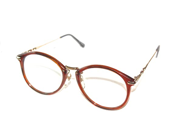 hipster round eyeglasses brown 54mm rx able style geek glasses frames