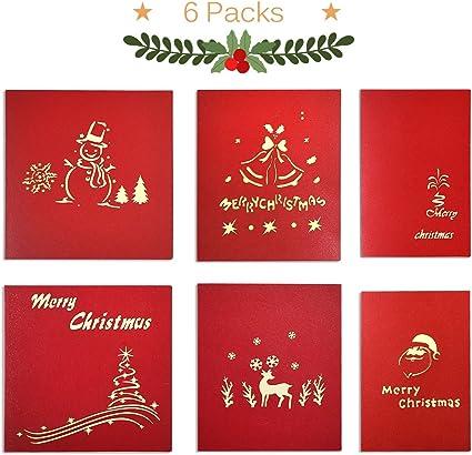 ontseev tarjeta de Navidad [6 packs] Pop Up 3d tarjeta en Navidad Regalo tarjeta (Muñeco de nieve, campana, Hogar, Árbol de Navidad, alces, Papá Noel): Amazon.es: Oficina y papelería