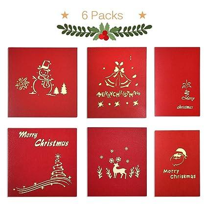 ontseev tarjeta de Navidad [6 packs] Pop Up 3d tarjeta en Navidad Regalo tarjeta (Muñeco de nieve, campana, Hogar, Árbol de Navidad, alces, Papá Noel)