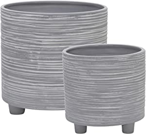 Sagebrook Home 15063-02 Ceramic Footed Planter W/Lines 6/8