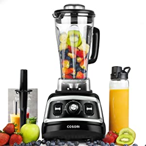 COSORI Blender 1500W for Shakes Professional Heavy Duty Smoothie Maker With Variable Speeds, with 800W Auto-Blend Base for Ice Fruits & Nutrients Extraction, 2 x 24oz cups, 1 x 12oz cup