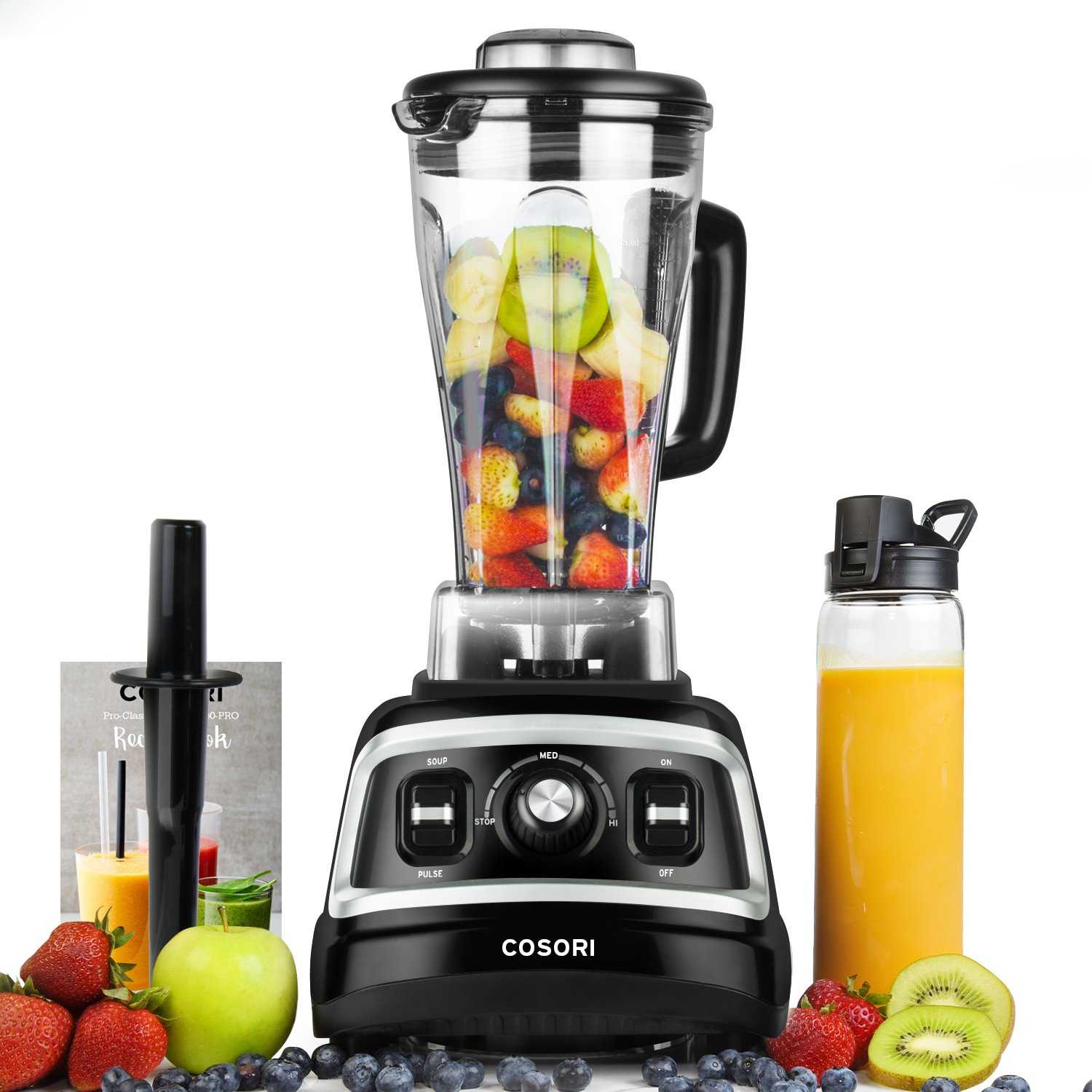 COSORI 1500W Blender for Shakes and Smoothies, Professional Kitchen Smoothie Blender Maker with 70oz BPA-Free Pitcher & 27oz Bottle,Commercial Heavy Duty Food Processor for Ice,Soup,Nuts &Batter,2HP