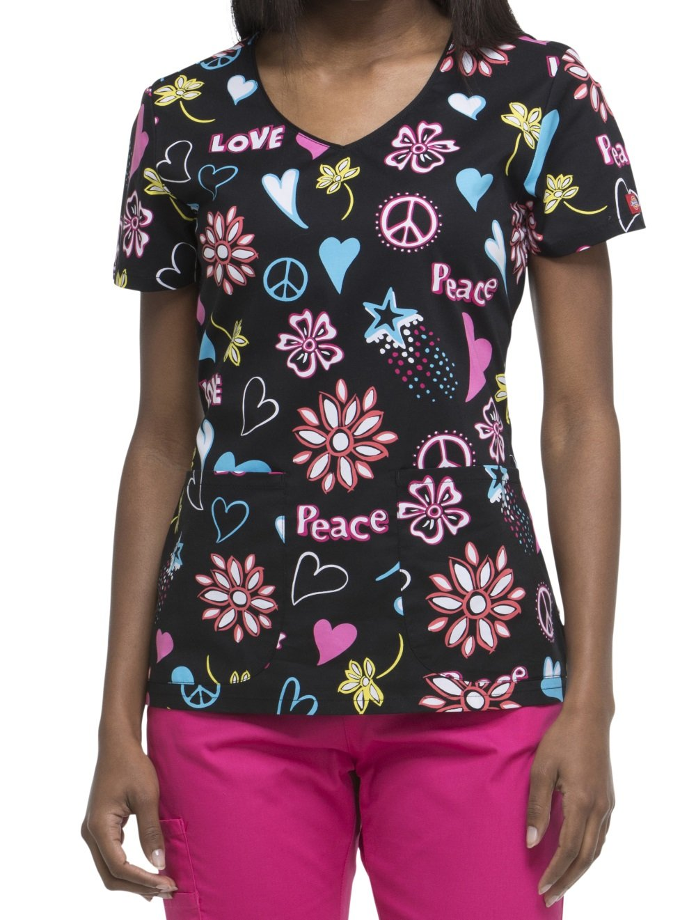 Dickies EDS Signature by Women's V-Neck Heart Print Scrub Top XX-Large Print