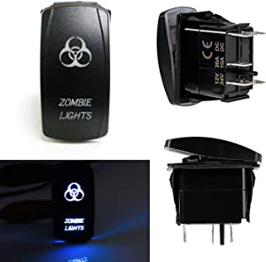 iJDMTOY (1) Zombie Lights 5-Pin SPST ON/OFF Blue LED Indicator Rocker Switch Compatible With Car Truck 4x4 Jeep Boat Work Lights, Fog Lights, Daytime Running Lamps, etc