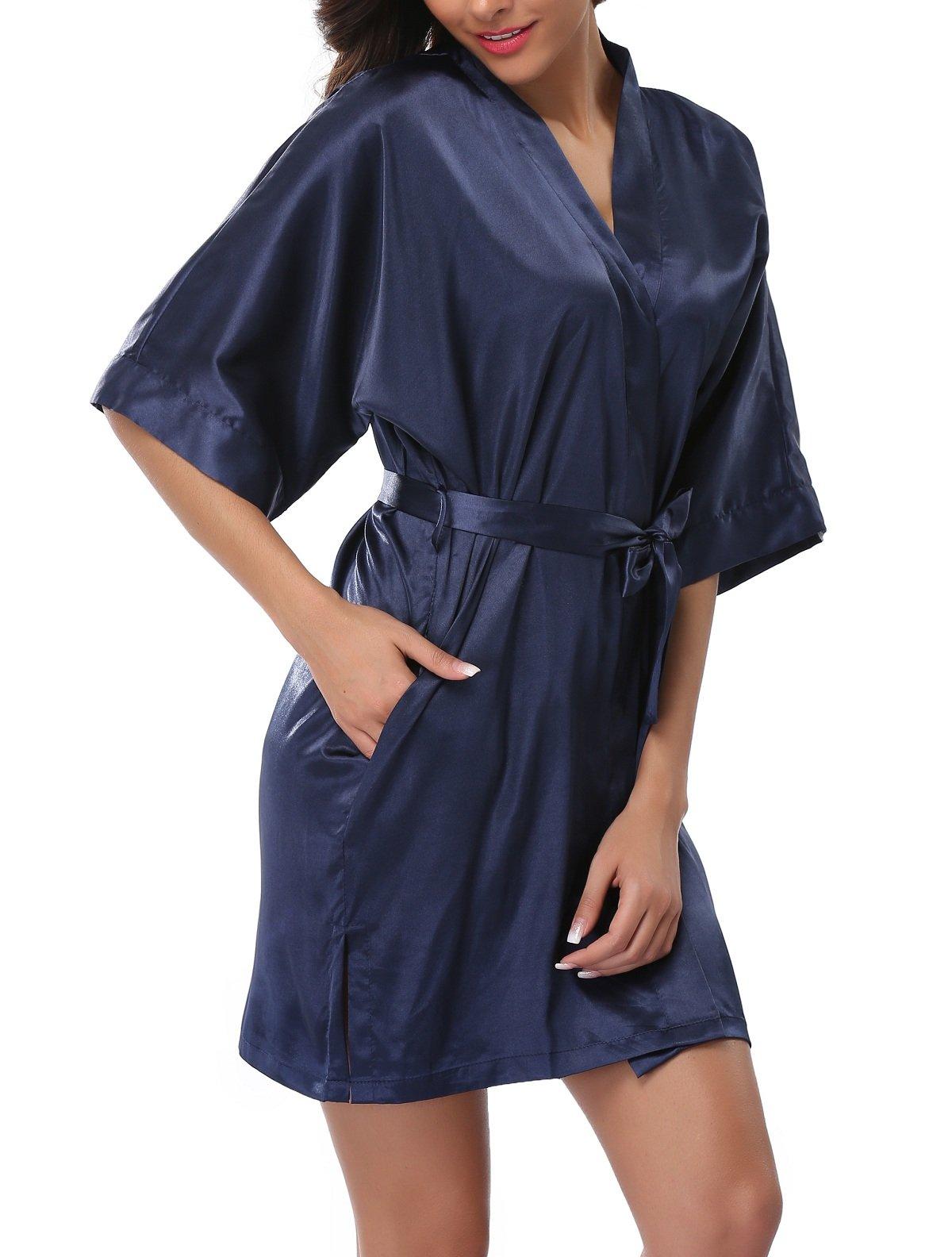 FADSHOW Women's Pure Color V Neck Kimono Robes Soft Bathrobes,Navy,Medium