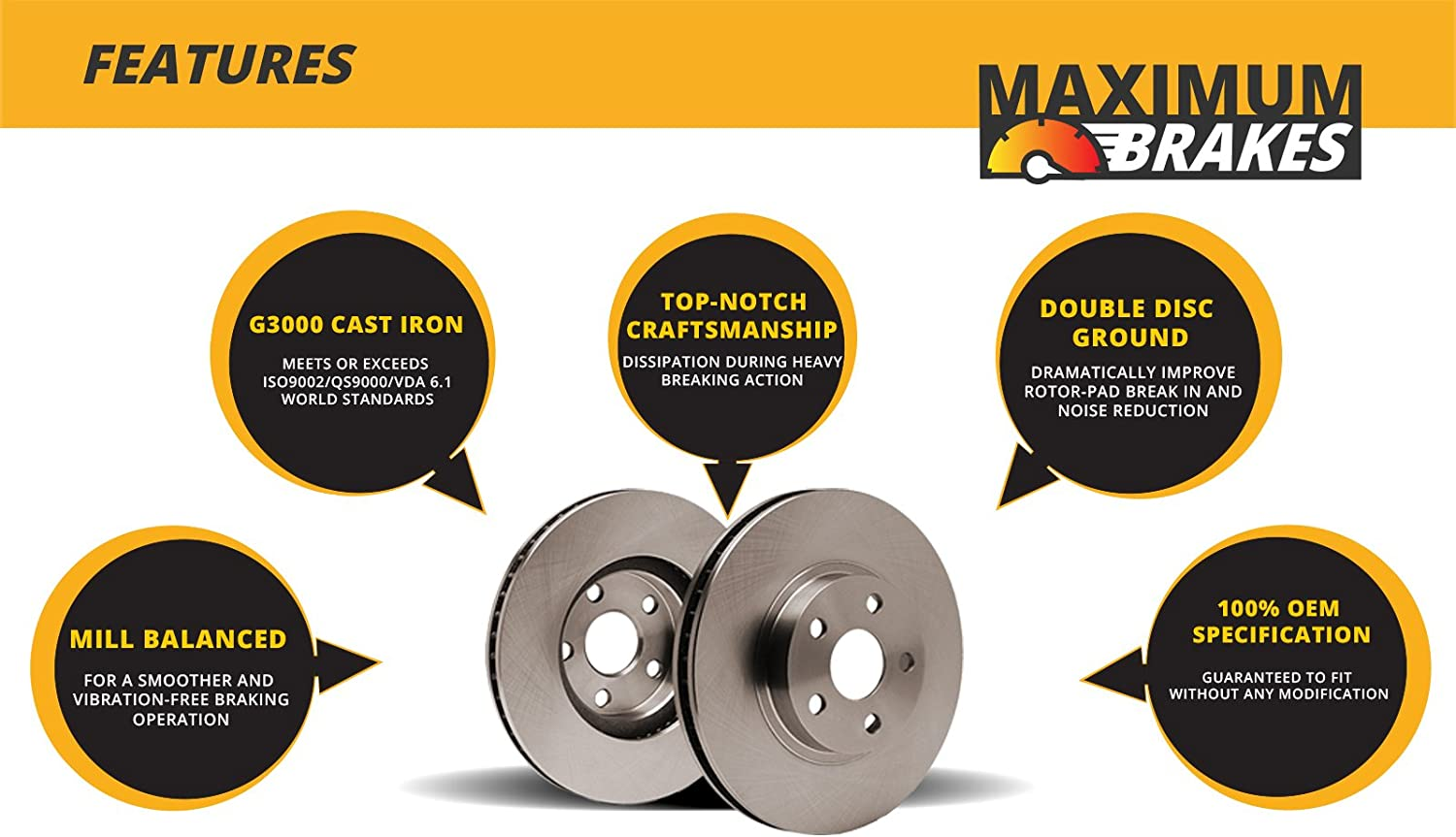 Ships from USA Perfect-Series 5lug Fits: Chrysler Dodge Plymouth OE SPEC 2 Disc Brake Rotors Rear Rotors -