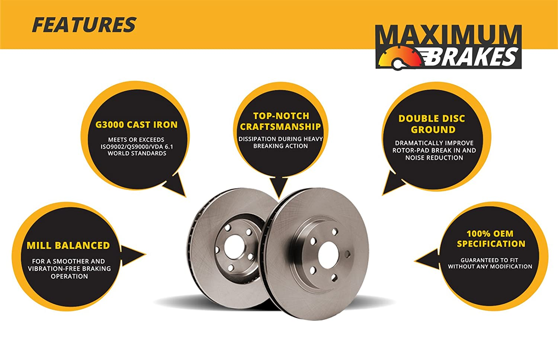 Rear Rotors 2 Disc Brake Rotors 5lug Perfect-Series OE SPEC Fits: RL