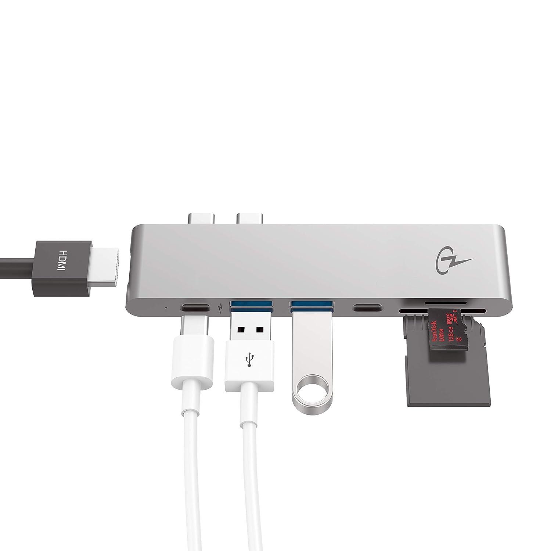 Sd y Lectores de Tarjeta Micro Sd 2 Usb 3.0 Charjenpro Usb-C Cubo Macbar Adaptador//Cubo Para Manzana Macbook Pro 2016//2017-40Gb//S Rayo 3 Puerto 5K@60Hz Color gris Espacial Usb-C Datos