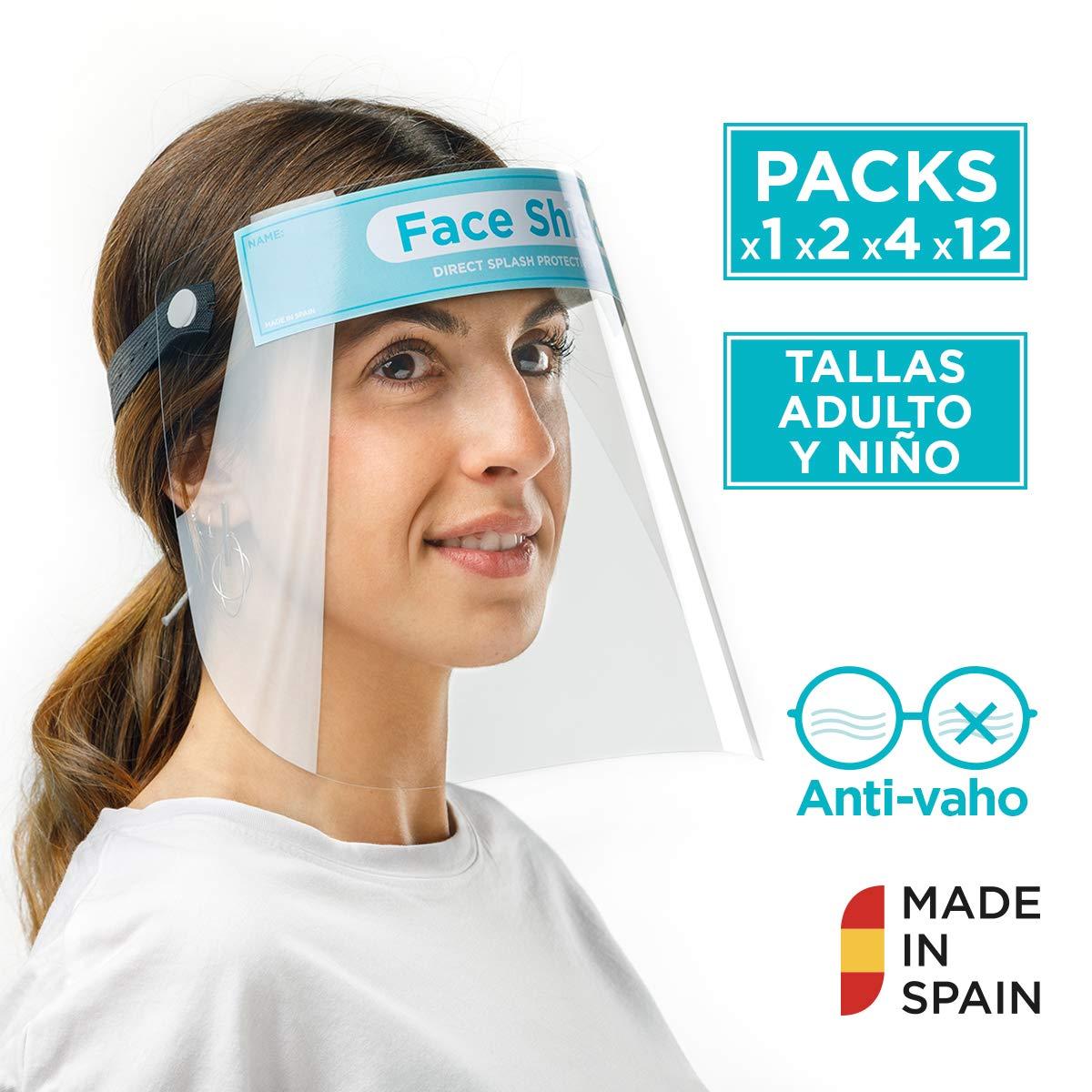 Pantalla Protección Facial Sonaprotec - Protector Facial Antivaho. Talla Niños y Adultos. Visera Protectora para la Cara Face Shield Fabricadas en España - Talla Pequeña - Pack 1