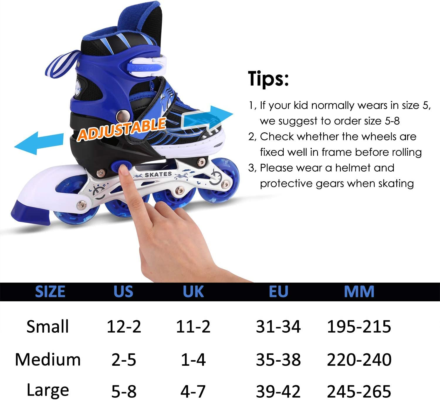 ANCHEER Inline Skates for Kids Adjustable with Light Up Wheels Beginner Roller Fun Flashing Illuminating Roller Skates for Kids Boys and Girls 2 Colors and 3 Sizes