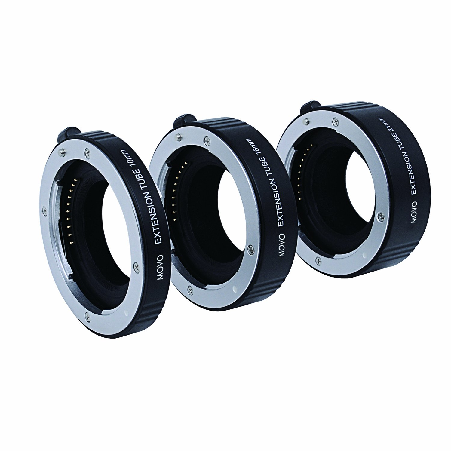 Movo Photo AF Macro Extension Tube Set for Sony E-MOUNT (NEX) Mirrorless Camera System with 10mm, 16mm & 21mm Tubes (Metal Mount)