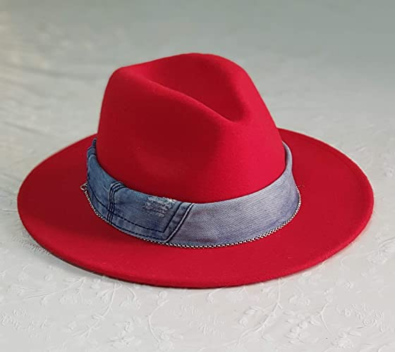 6af93c61f Amazon.com: Handmade Red fedora hats for women,Gift for her,Jeans ...