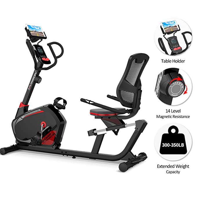 HARISON Recumbent Exercise Bike Stationary with 14 Level Magnetic Resistance, Tablet Holder, RPM, Wide Seat, and Pulse Rate Monitoring... best recumbent bikes