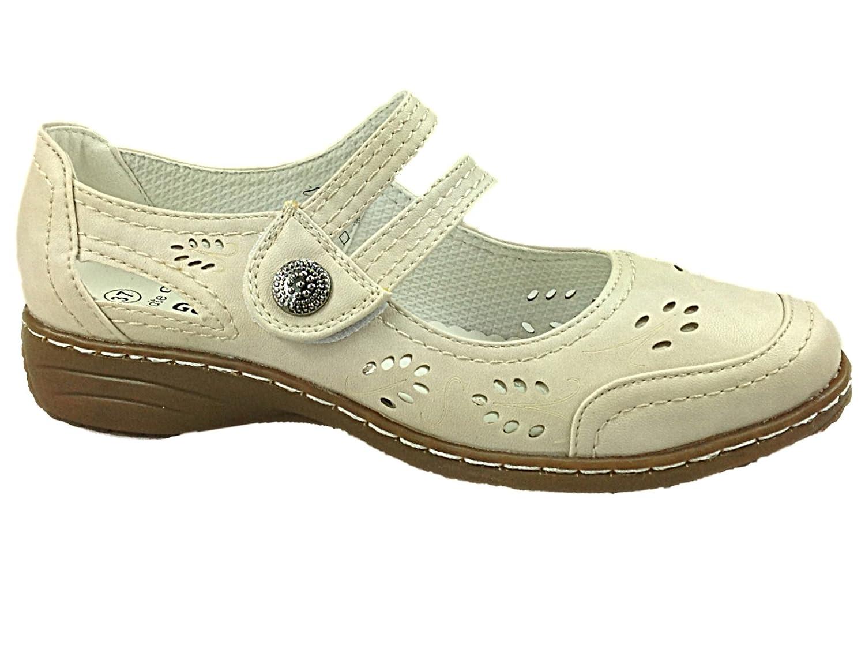 Ladies Goldstep Beige Mary Jane Loafer Casual Flat Sandal Shoes Size UK