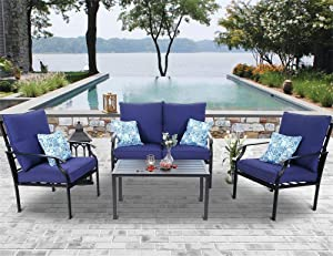 PHI VILLA 4 PC Patio Conversation Set Outdoor Furniture Sofa Set Steel Frame with Padded Cushion, Include 1 Loveseat, 2 Sectional Chairs, 1Coffee Table & 4 Free Pillow, Navy Blue