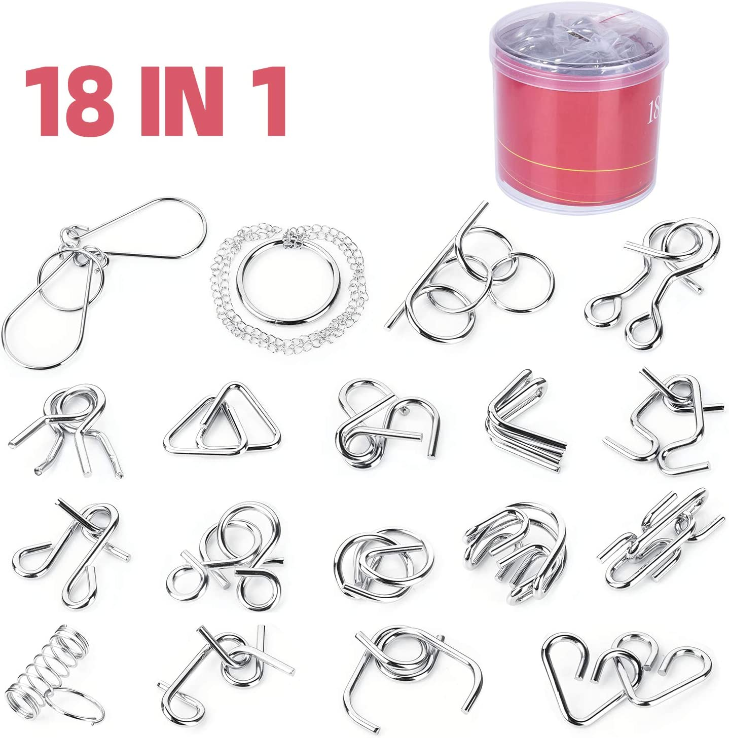 Pack of 18 Metal Wire Puzzles Brain Teaser Metal Puzzles IQ Toys IQ Test Mind Game Toys Intelligence Toys for Adult Children with Plastic Storage Box