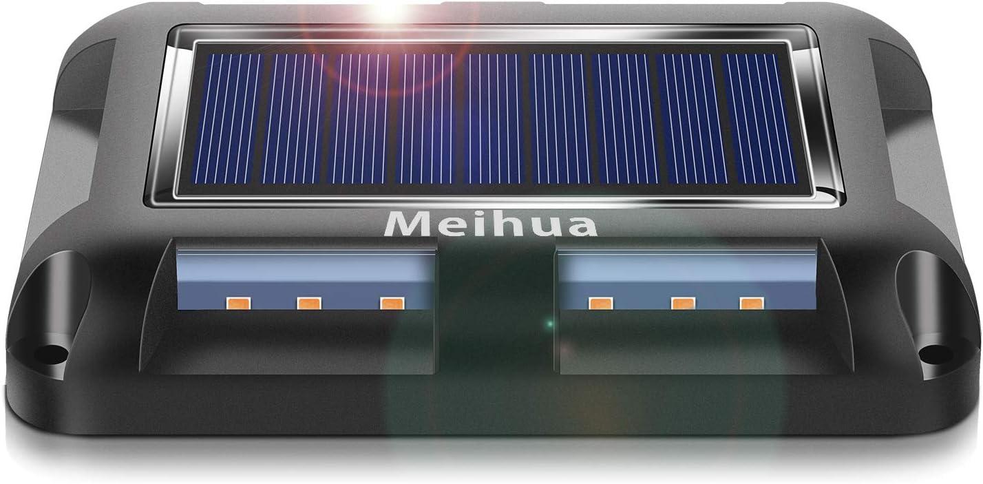 IP67 Impermeable MEIHUA 20 LEDs Luces Solares Exterior Jardin Luces de Tierra luminaci/ón para C/ésped Patio Camino Calzada Cuadrado Blanco Calido(4 PACK) Luces Solares Led Exterior