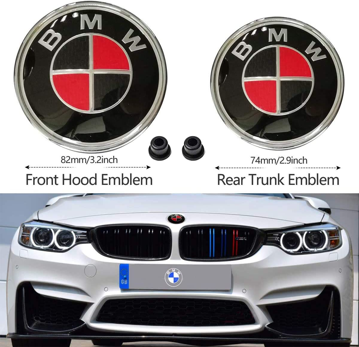 Red Black 2PCS B-M-W Black and Red 82mm Hood Emblem/74mm Trunk ...