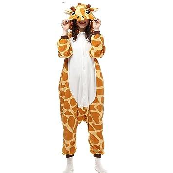 KiKa Monkey Flanela Unicornio Cartoon Animal Novedad Navidad Pijama Cosplay (L, Giraffe)