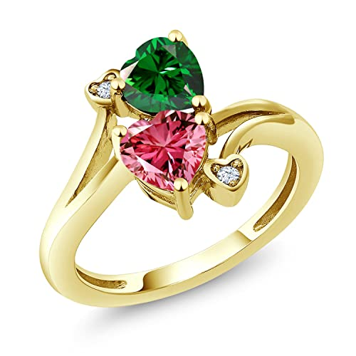 74a17a631838 Gem Stone King 1.51 Cttw Anillo de Oro Amarillo de 10K Zirconia Swarovski  Rosado de Lujo