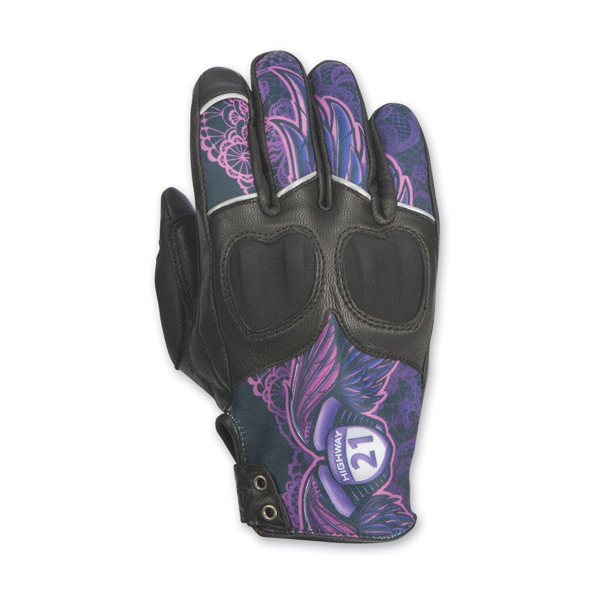 Highway 21 Womens Vixen Gloves Purple Lace Large 489-0092L
