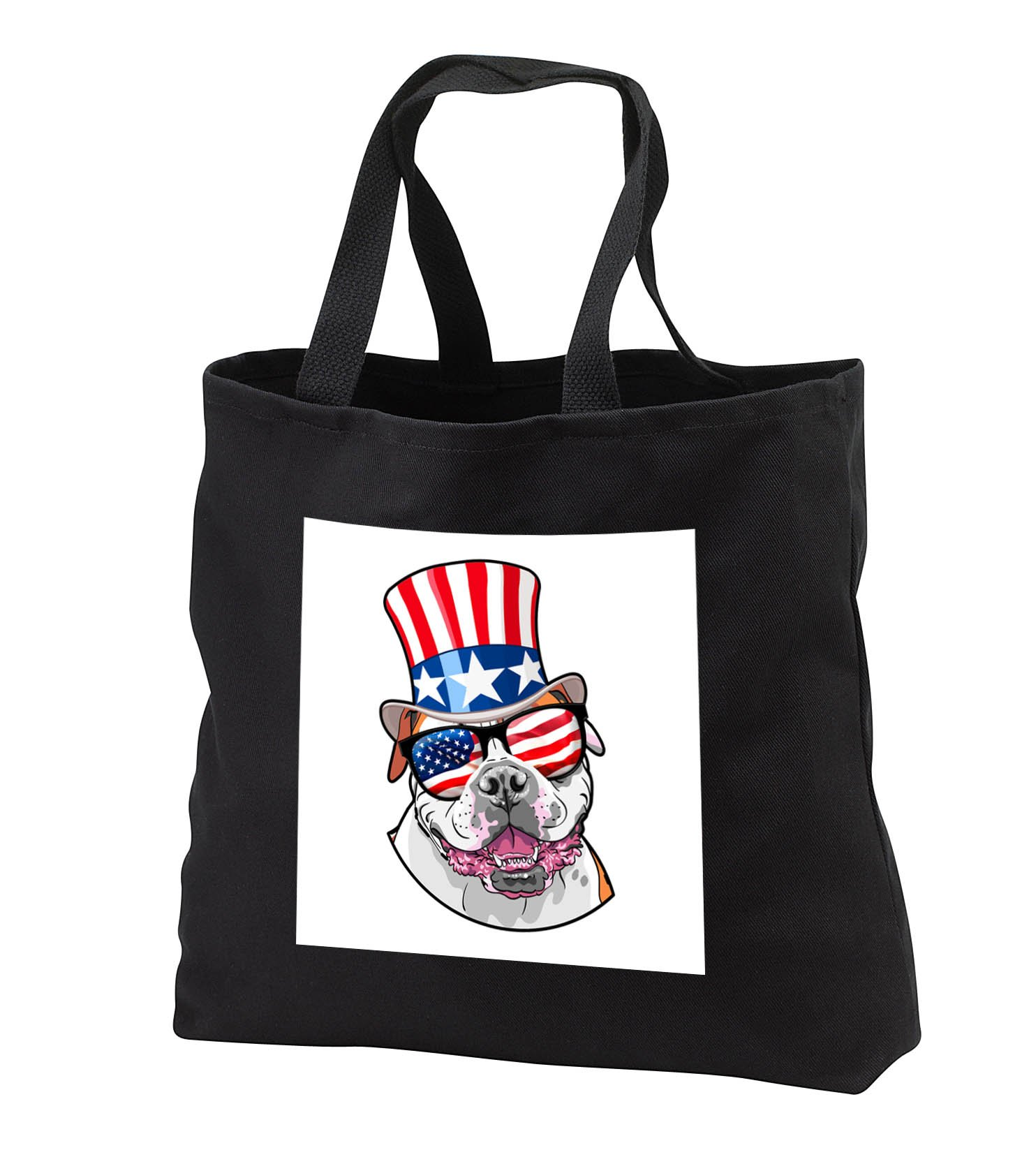 Patriotic American Dogs - American Bulldog With American Flag Sunglasses and Top hat - Tote Bags - Black Tote Bag 14w x 14h x 3d (tb_282709_1)