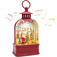 Christmas Snow Globe Lantern, Lighted Snow Globe with Music and Timer, Santa Claus Glittering Lantern Lamp as Decoration and Gift