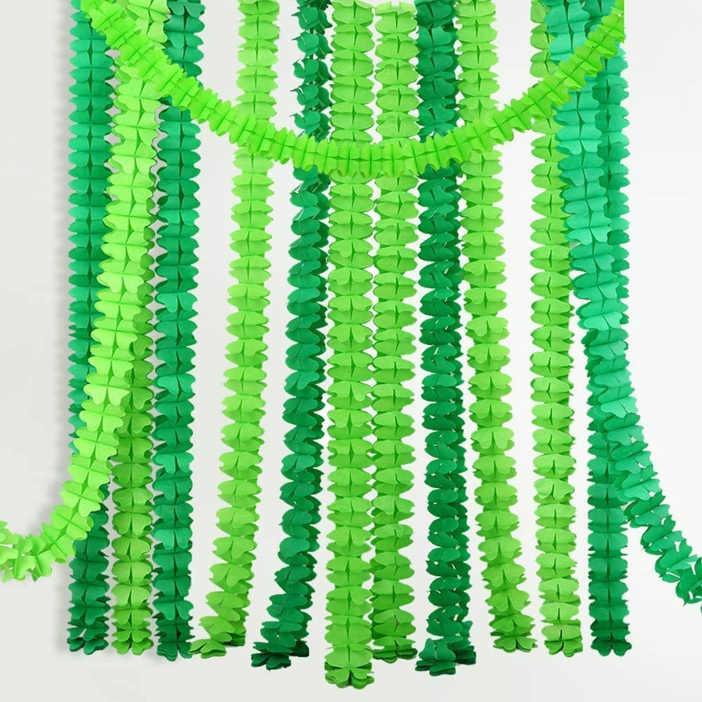 guarder/ía boda despedida de soltera ideales para fiestas de baby shower verde 6 guirnaldas colgantes de papel de seda de cuatro hojas Kit de decoraci/ón de fiesta 3 m de largo cada una