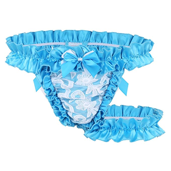 f5628e42f1ac MSemis Men's Ruffle Frilly Satin Lace Sissy Maid Briefs Underwear Tutu  Knickers Crossdress Panties Blue Medium