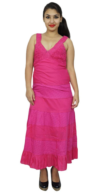 Women Cotton Dress Long Summer Maxi Beach Wear Spaghetti Straps Sundress