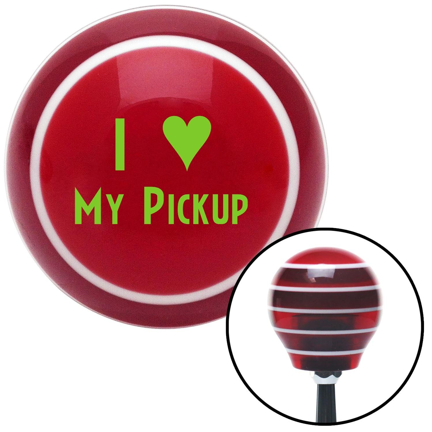 Green I 3 My Pickup American Shifter 114379 Red Stripe Shift Knob with M16 x 1.5 Insert