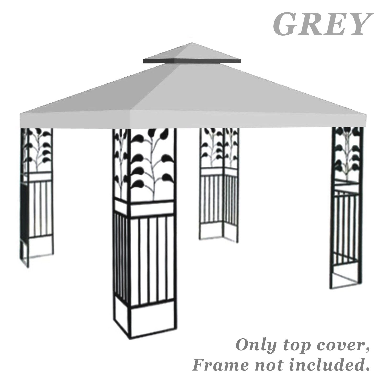 BenefitUSA Replacement 10'X10' gazebo canopy top patio pavilion cover sunshade plyester double tiers (Grey)