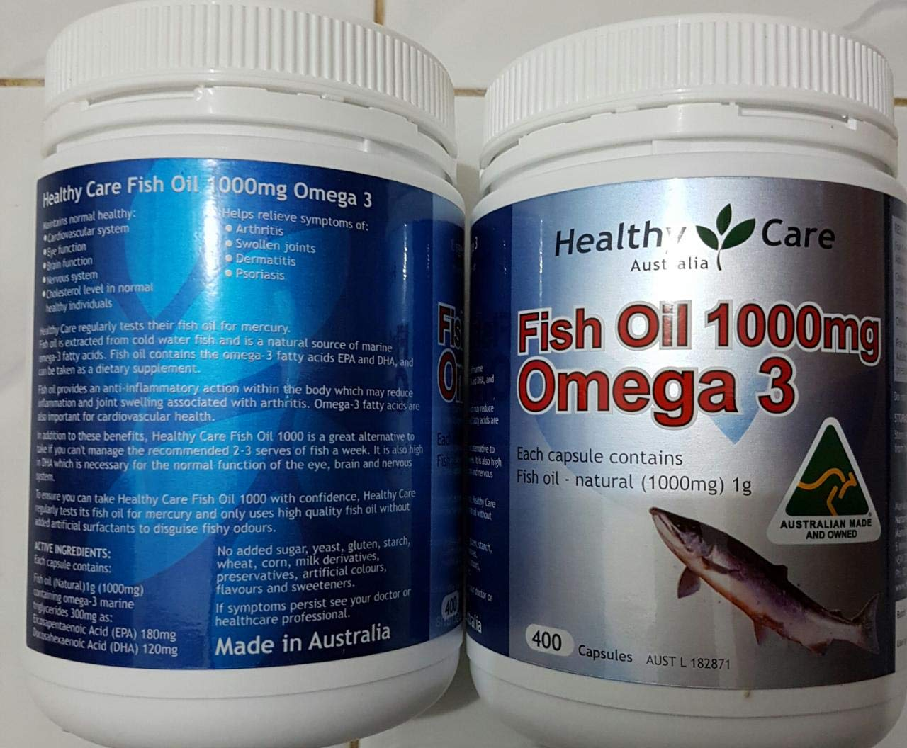 Amazon.com: Healthy Care anti-inflammatory action Omega 3 Fish Oil 1000mg 400caps contain the omega-3 fatty acids EPA DHA, Made in Australian with 1 Knot ...