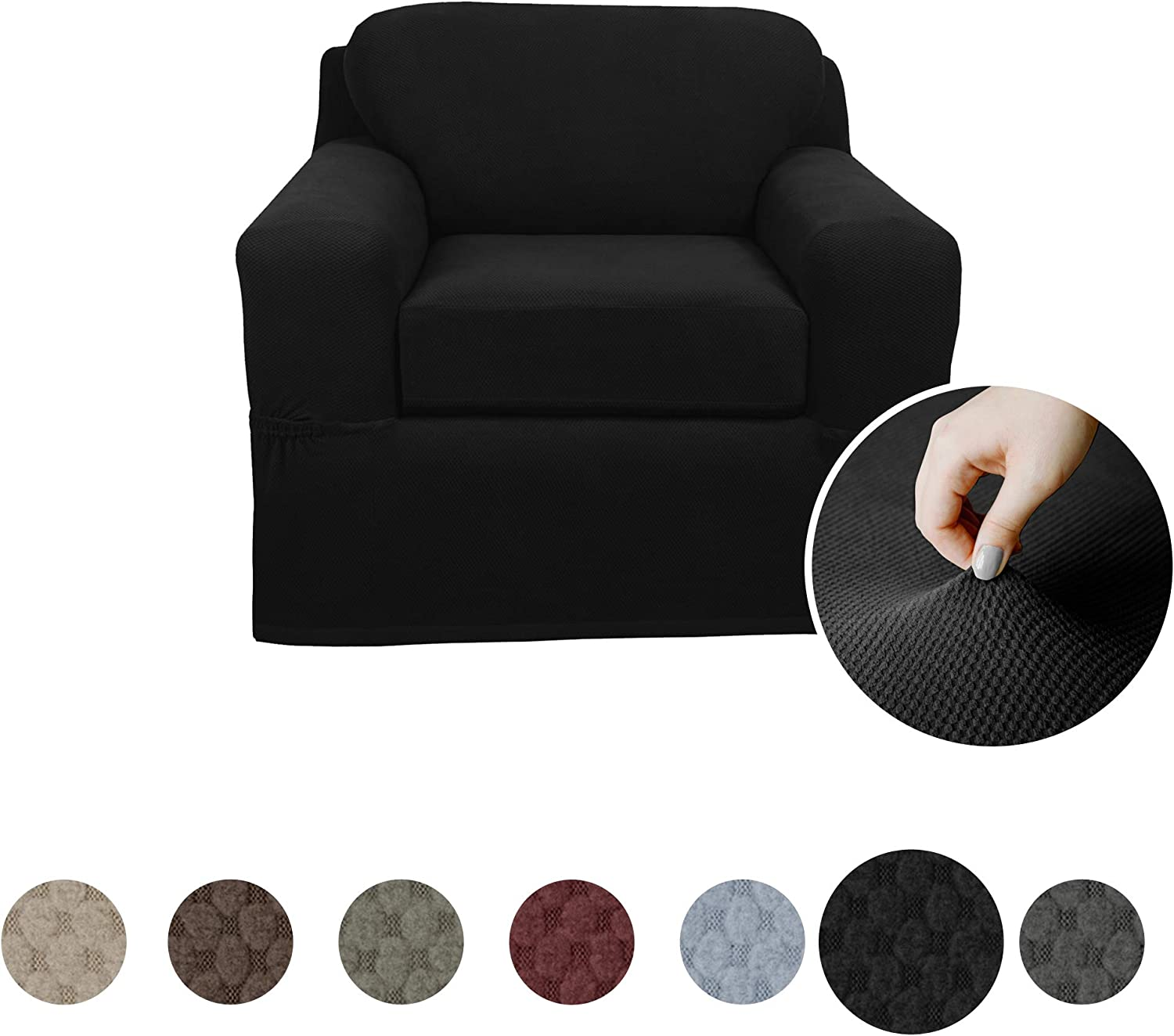 Charcoal Grey MAYTEX Pixel Ultra Soft Stretch 2 Piece Sofa Furniture Cover Slipcover